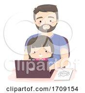 Kid Girl Dad Search School Laptop Illustration