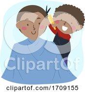 Poster, Art Print Of Kid Boy Role Play Barber Dad Customer Illustration