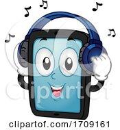 Mascot Tablet Mobile Headphones Song Illustration