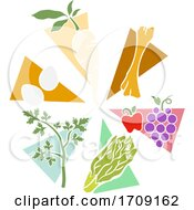 Poster, Art Print Of Passover Foods On Plate Stencil Illustration