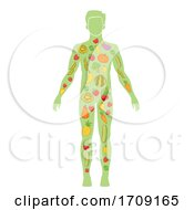 Body Man Healthy Diet Fruit Vegetable Illustration