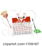 Mascot Calendar Daily Chores Illustration