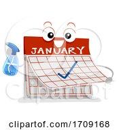 Mascot Calendar Monthly Chores Illustration