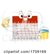 Mascot Calendar Weekly Chores Illustration