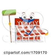 Mascot Calendar Yearly Chores Illustration