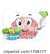 Mascot Brain Vegetables Healthy Illustration
