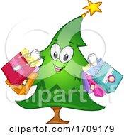 Mascot Christmas Tree Shopping Illustration