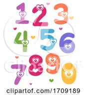 Numbers Hearts Valentines Illustration