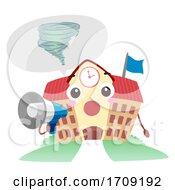 Poster, Art Print Of Mascot School Tornado Drill Megaphone Illustration