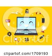 Mascot Laptop Computer Programming Illustration