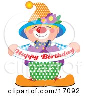 Cute And Friendly Party Clown Entertaining At A Birthday Party While Holding A Banner That Reads Happy Birthday