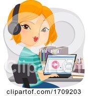 Girl Homeschool Watch Video Tutorial Illustration