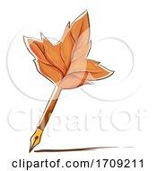 Quill Maple Leaf Illustration