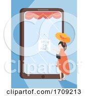 Girl Mobile Shopping Open Illustration