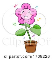 Poster, Art Print Of Mascot Flower Dancing Illustration