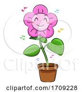 Mascot Flower Dancing Illustration