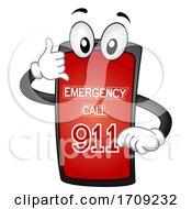 Mascot Phone Call Emergency 911 Illustration
