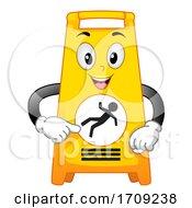 Mascot Wet Floor Sign Illustration