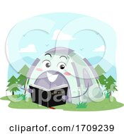 Mascot Tent Hold Bible Church Camp Illustration