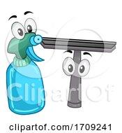 Mascot Spray Bottle And Wiper Illustration