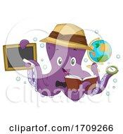 Octopus Geography Teacher Illustration
