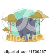 Rhino Wildlife Trees Illustration