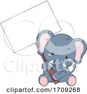 Elephant Hold Signboard Illustration