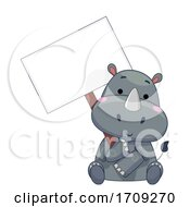 Mascot Rhino Hold Signboard Illustration