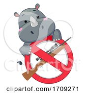 Mascot Rhino Stop Killing Illustration