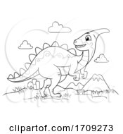 Dinosaur Black And White Illustration