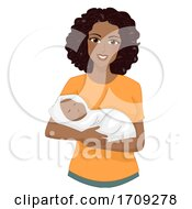 Girl Mom African Carry Baby Wrap Illustration