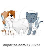 Mascot Dog Cat Dental Health Illustration