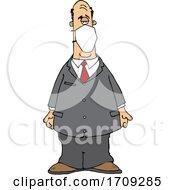 Cartoon Businessman Wearing A Mask