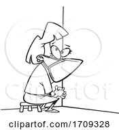 Cartoon Black And White Woman Wearing A Mask And Sitting In Coronavirus Time Out