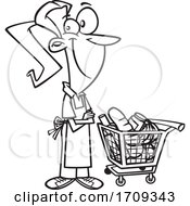 Cartoon Black And White Female Grocer With A Cart Full Of Food