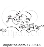 Poster, Art Print Of Cartoon Black And White Boy Chasing A Bouncing Meatball
