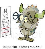 Cartoon Monster Taking An Eye Exam