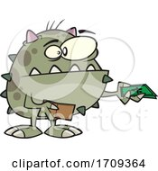 Cartoon Monster Paying With Cash