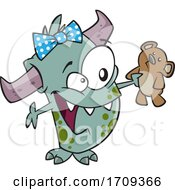 Cartoon Girl Monster With A Teddy Bear