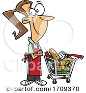 Cartoon Female Grocer With A Cart Full Of Food