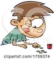 Poster, Art Print Of Cartoon Boy Playing Tiddlywinks