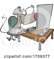 Cartoon Mouse Using A Computer