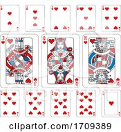 Poster, Art Print Of Playing Cards Hearts Red Blue And Black