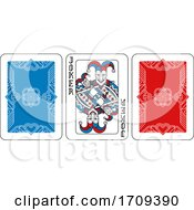 Playing Card Joker And Back Red Blue And Black