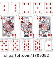 Poster, Art Print Of Playing Cards Diamonds Red Blue And Black