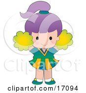 Cute Purple Haired Caucasian Cheerleader Girl Jumping With Pompoms