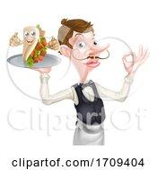 Poster, Art Print Of Cartoon Waiter With Perfect Kebab