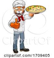 05/02/2020 - Tiger Pizza Chef Cartoon Restaurant Mascot