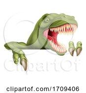 Dinosaur T Rex Pointing At Sign Cartoon by AtStockIllustration