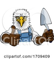 Eagle Bricklayer Builder Holding Trowel Tool